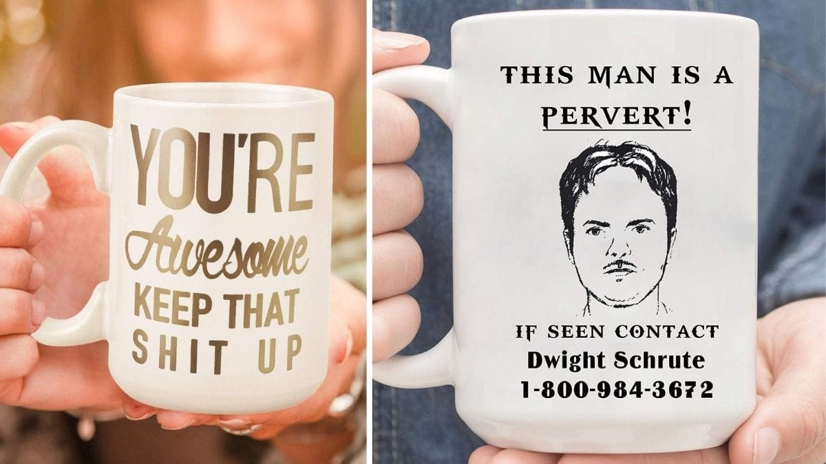 Two white coffee mugs with funny quotes written on it.