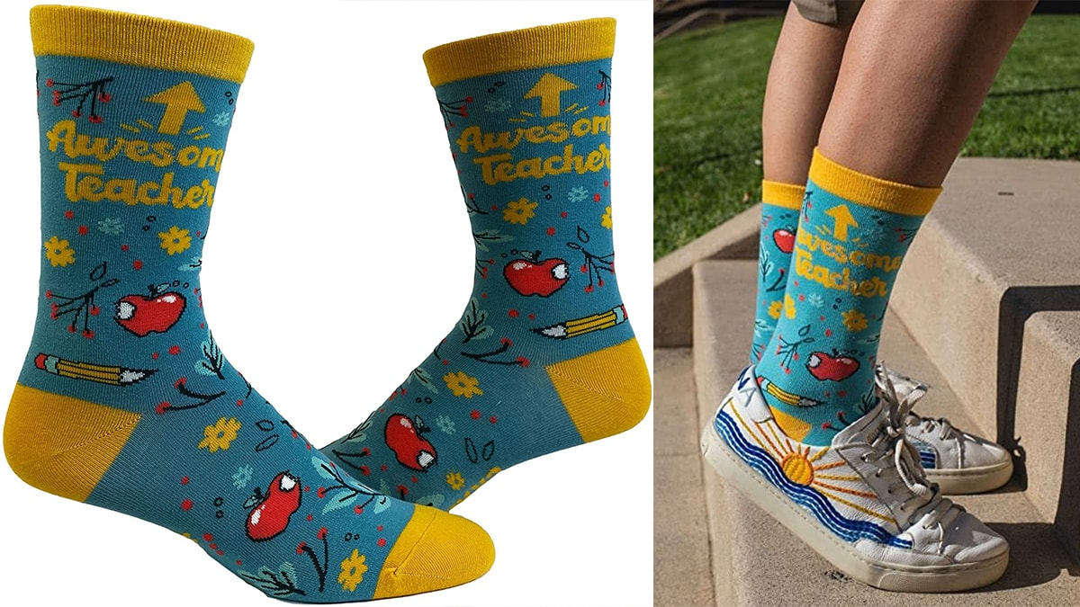 """""""awesome teacher """" blue and yellow colored socks. On right side, a guy is wearing those funny socks."""