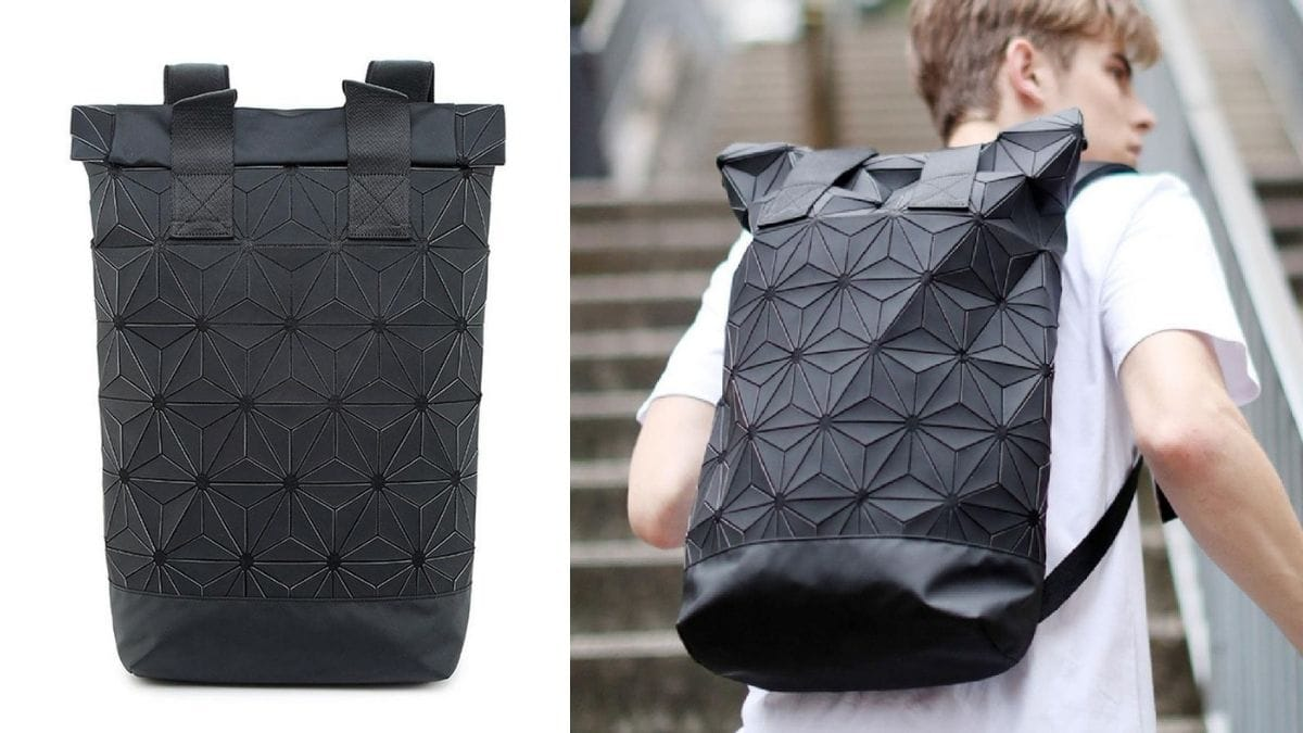 On the left: Black geometric backpack. On the right: a guy in white t-shirt walking upstairs with a black geometric backpack.