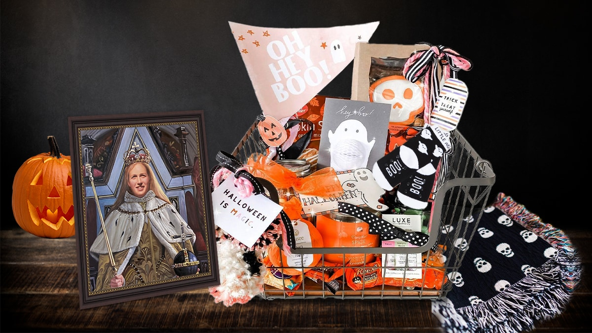 A spooky basket as a halloween gift for girlfriend that has everything from skincare products to socks to skull blanket to candies, treats and also a royal portrait painting of a girl.