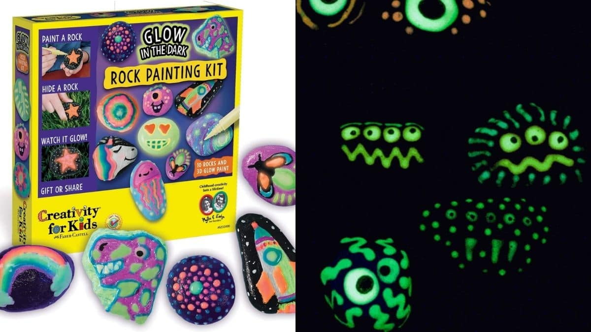 A rock painting kit box with glow in the dark colors and rocks. these glowing painted stones being used as garden stones in the night on All Hallows Eve Night.