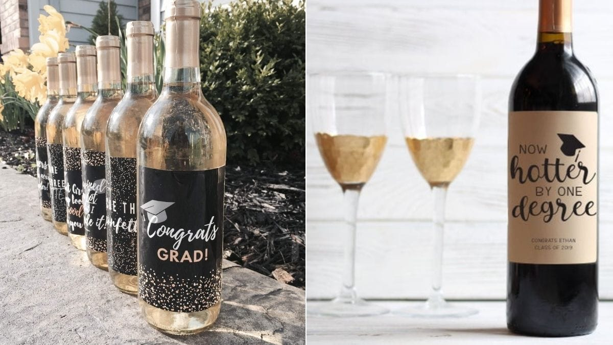 Wine bottles decorated with graduation labels.