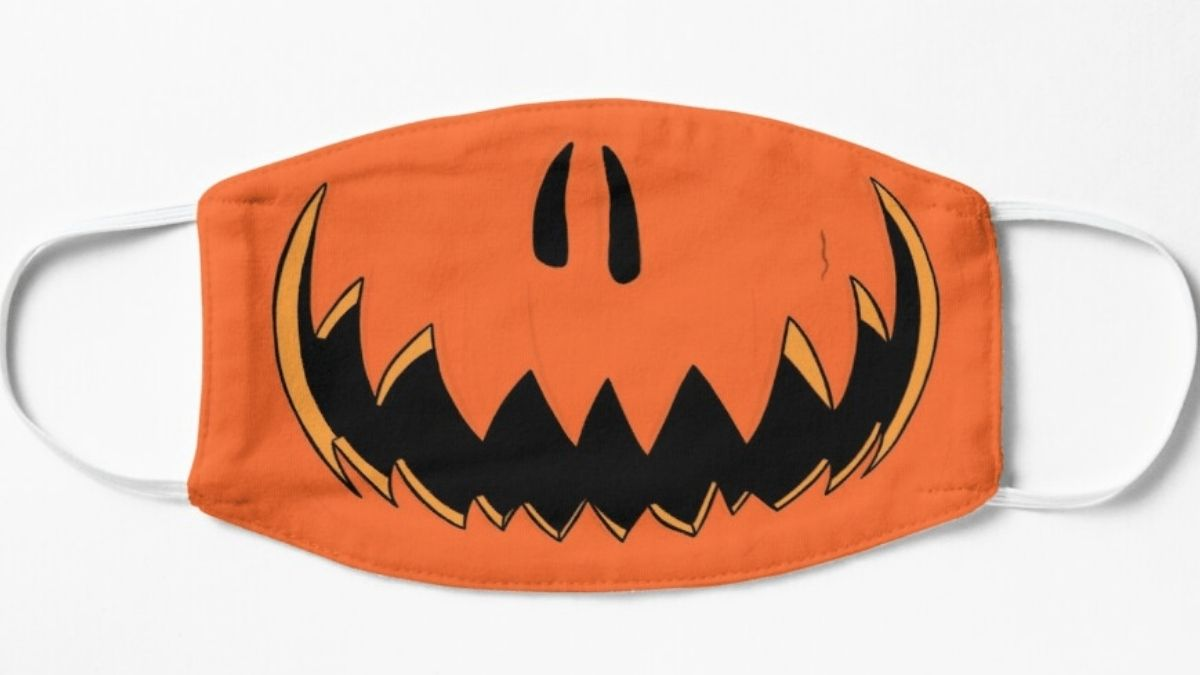 A Jack-o'-lantern inspired protective face mask. for Halloween night of trick or treating.
