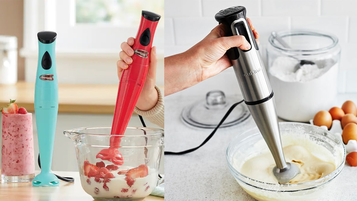 on the left; turquoise and red colored hand blender. On the right is a person whisking using a silver hand blender.