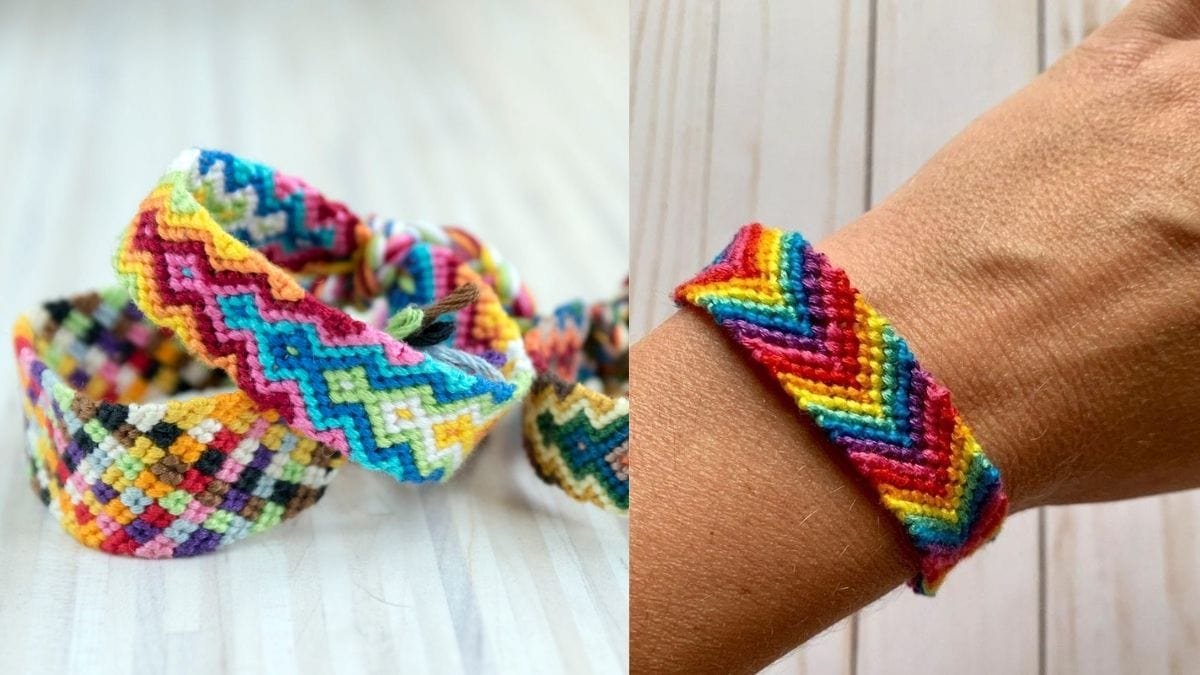 on left: different colorful handmade bracelets. On the right: a close-up shot of a hand with a colorful handmade bracelet.