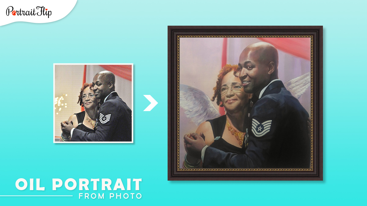 Christmas gifts ideas for him: a photo of a man and his mom is made into custom handmade oil painting by artists of portraitflip.