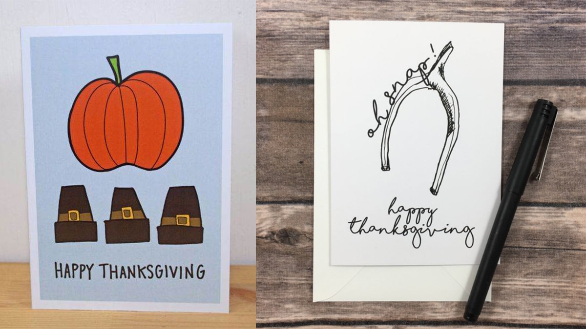 """hand-drawn """"happy thanksgiving"""" cards"""