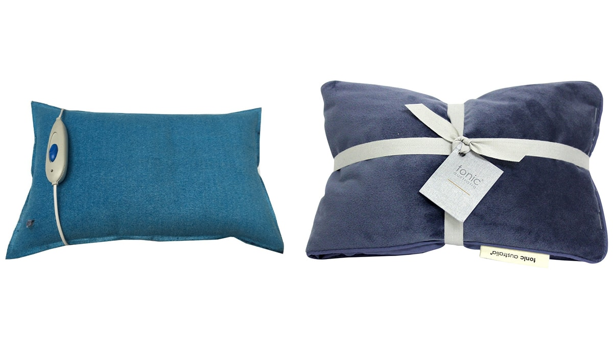 a blue and a purple heat pillows against a white background.
