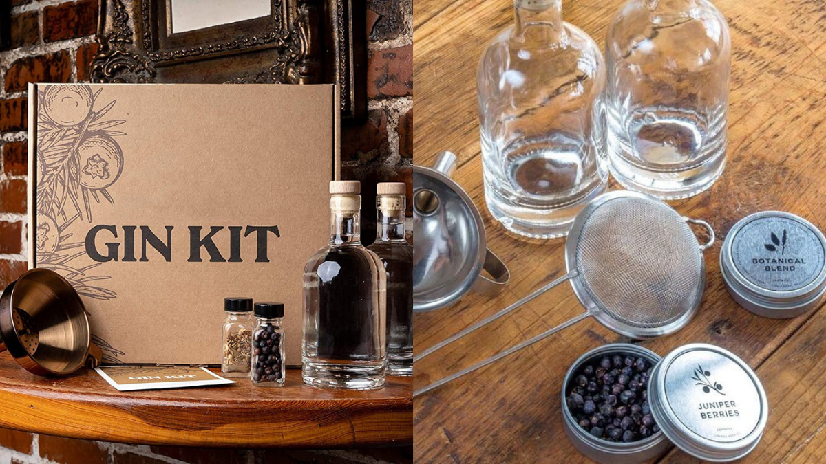 A branded gin kit is placed on the wooden surface.