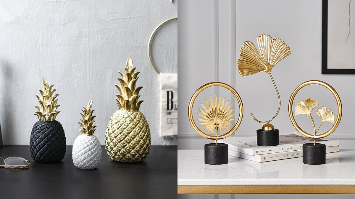 Beautiful pineapple and flower shaped ornaments are placed on the table.