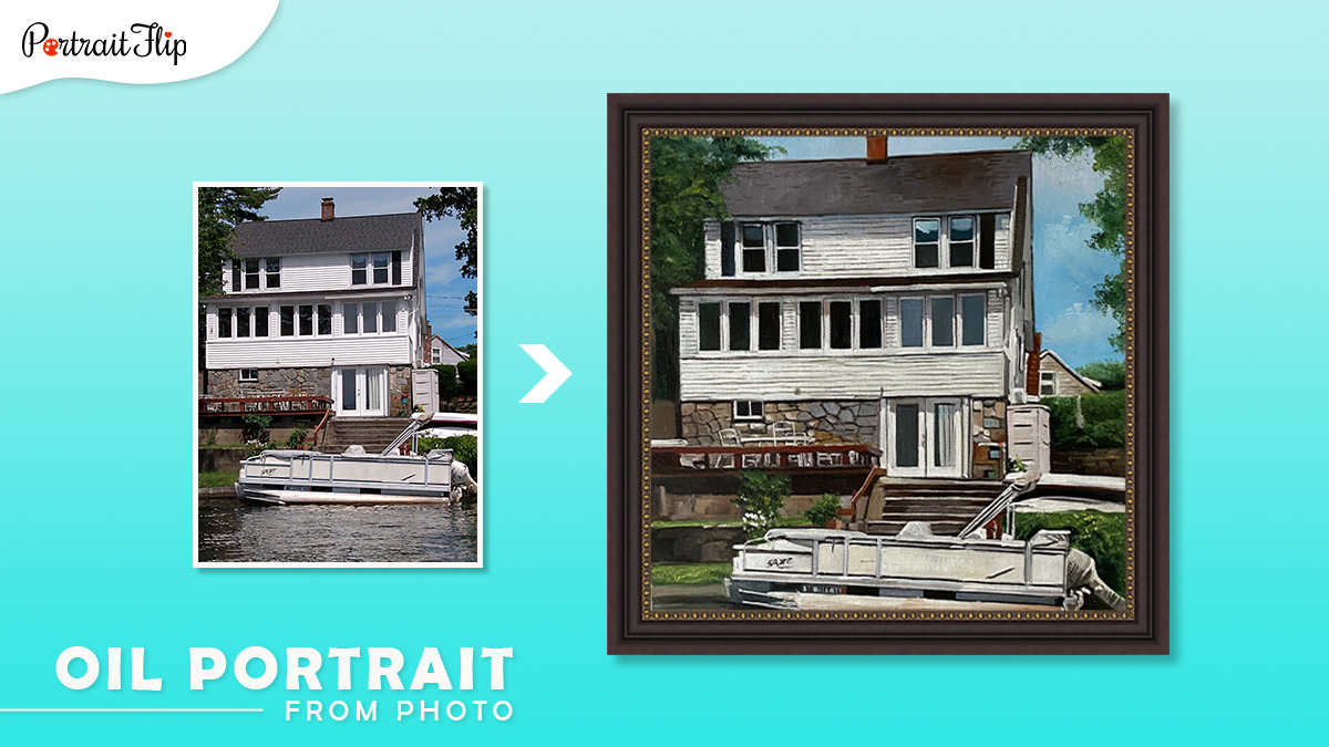 Christmas gifts ideas for him: a photo of a house is oil painted onto a canvas by artists of portraitflip