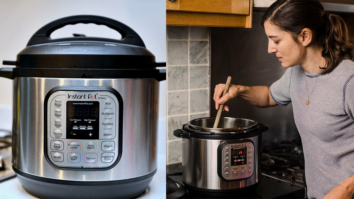 Instant pot on the left side. on the right side: a woman stirring an instant pot.