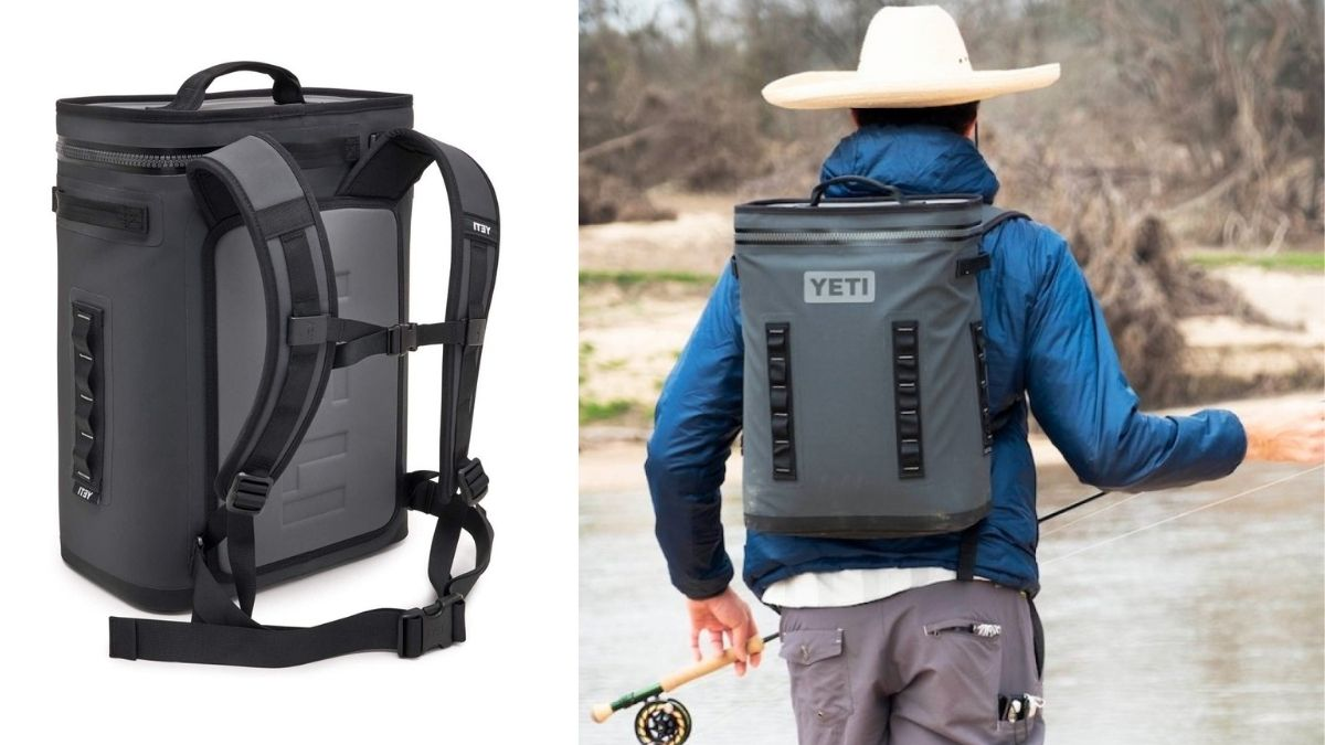 On left: an insulated backpack against a white background. on the right: a person going for fishing with an insulated backpack on his back.