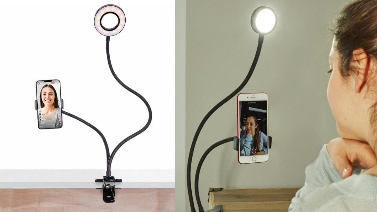 Live streaming kit with a light: a phone attached to the kit and the woman is video calling with another girl.