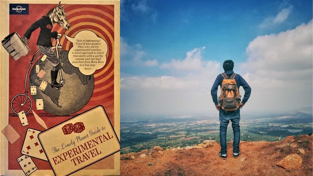 """On left: """"Lonely Planet Guide To Experimental Travel"""" book. On the right: a hiker looking at the panoramic view from the top of the mountain"""