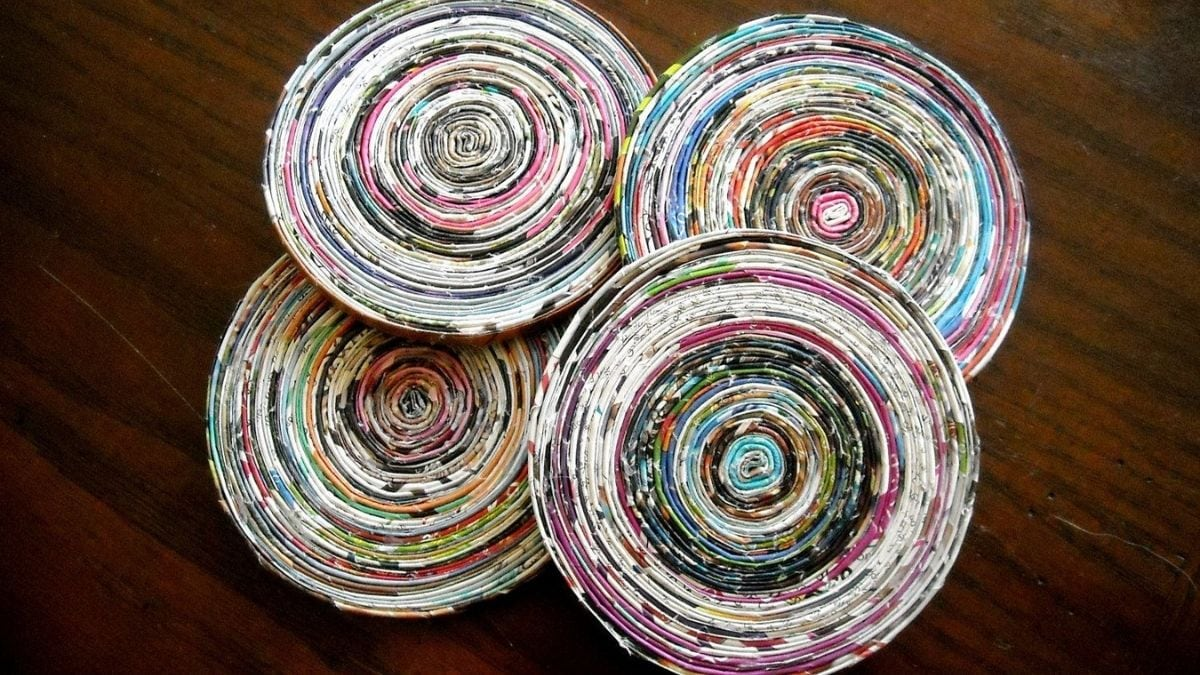 round coasters made from magazine papers.