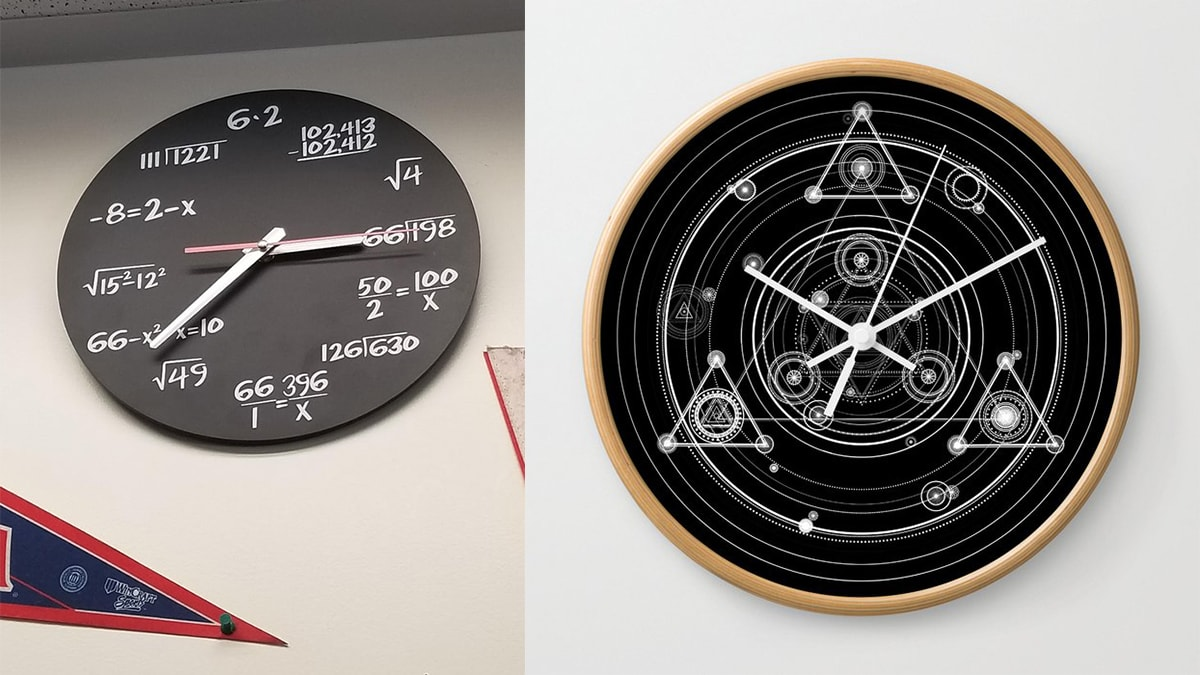 Two Black math clocks hanging on the wall. on left side, an algebra clock is hanging. On the right side, a geometric clock is hanging on the wall.