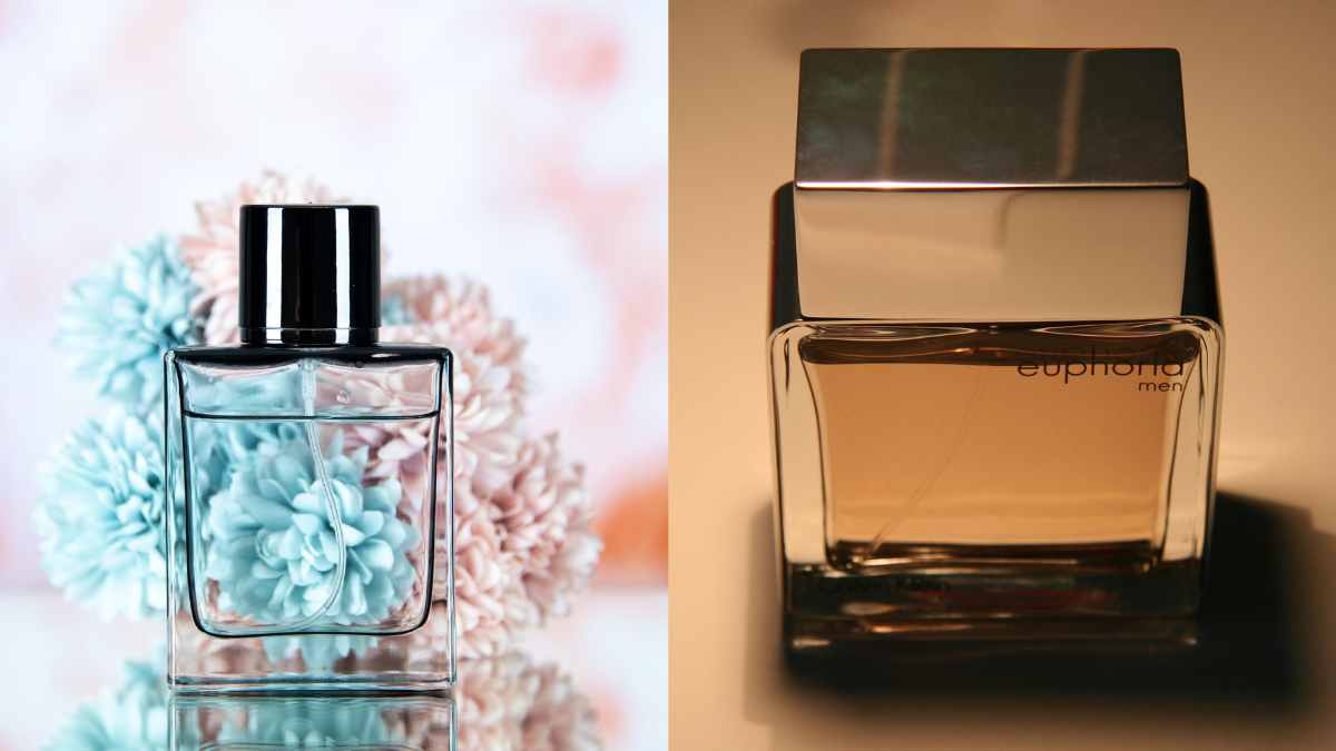 Two pleasant smelling men perfumes are placed on two different backgrounds.