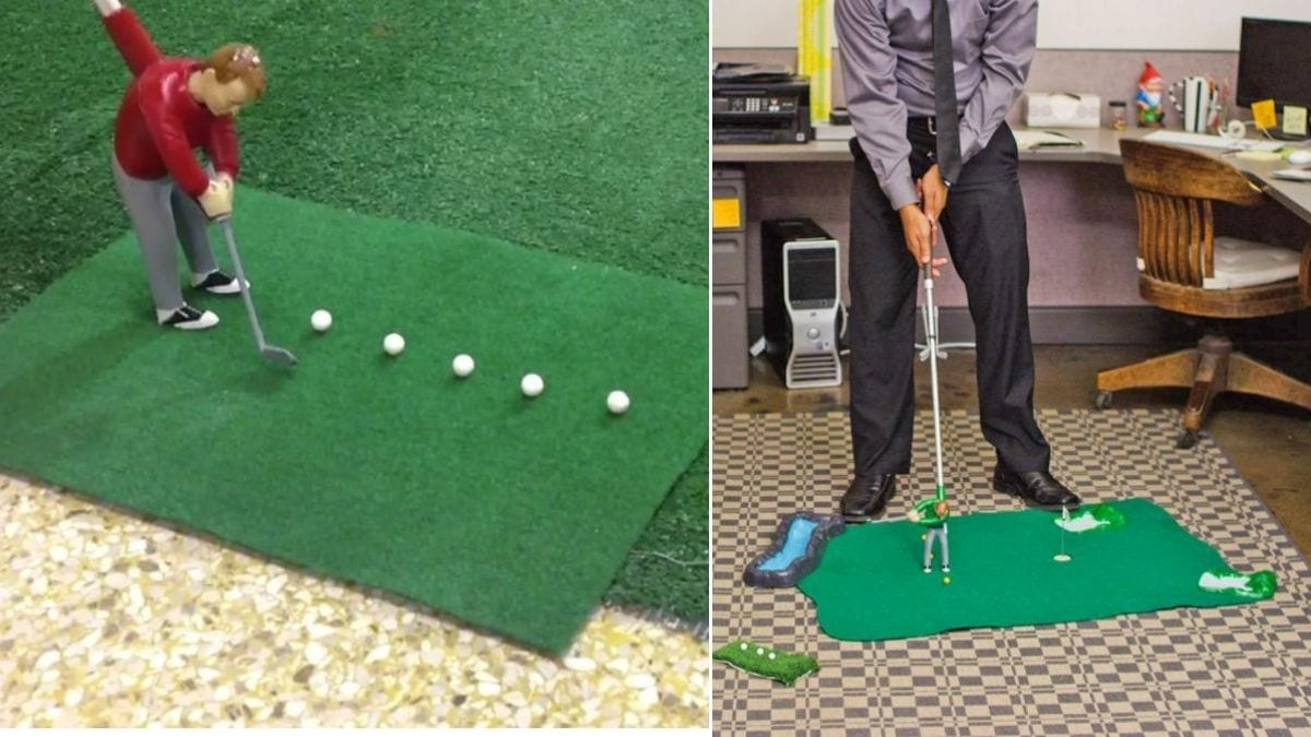 On left: mini golf game. On the right: an employee playing the mini golf game. in the office.
