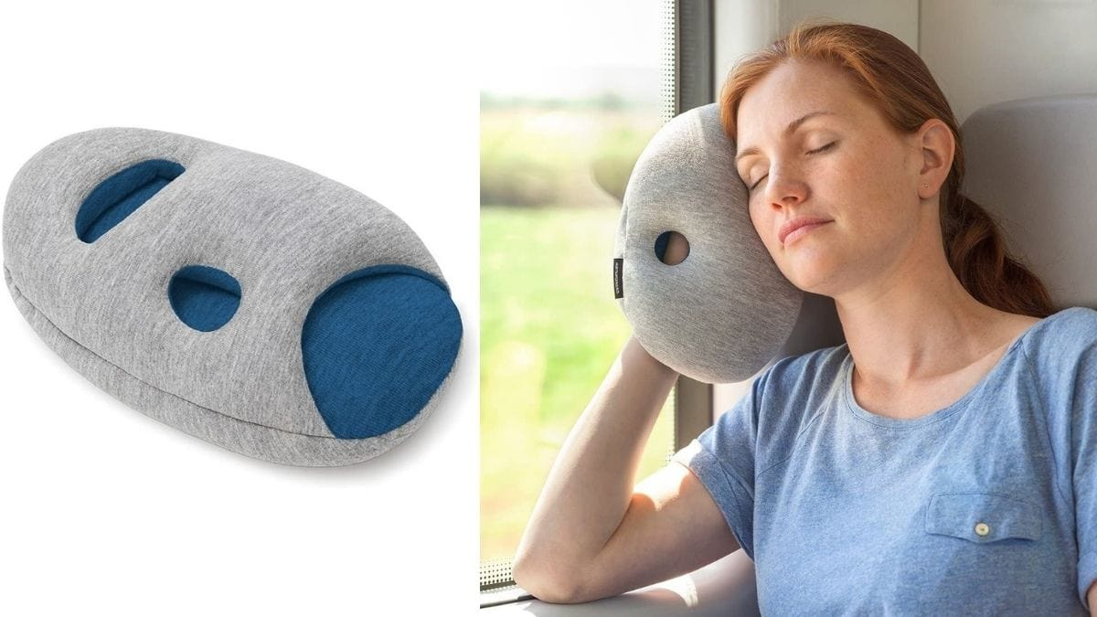 On the left: a mini travel pillow against white background. On the right: a woman head-resting with a travel pillow against window on a train journey