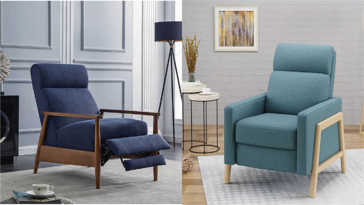 On left : a navy blue Mod recliner. On the right: a turquoise mod recliner.