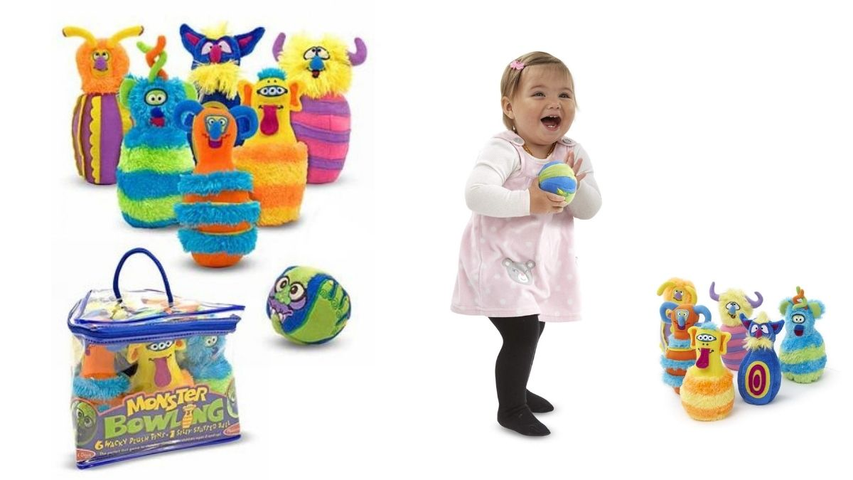 A bowling set with pins in the shape of plush monsters on one side and a small kid playing with the monster shaped plush toys bowling gifted to her for Halloween.