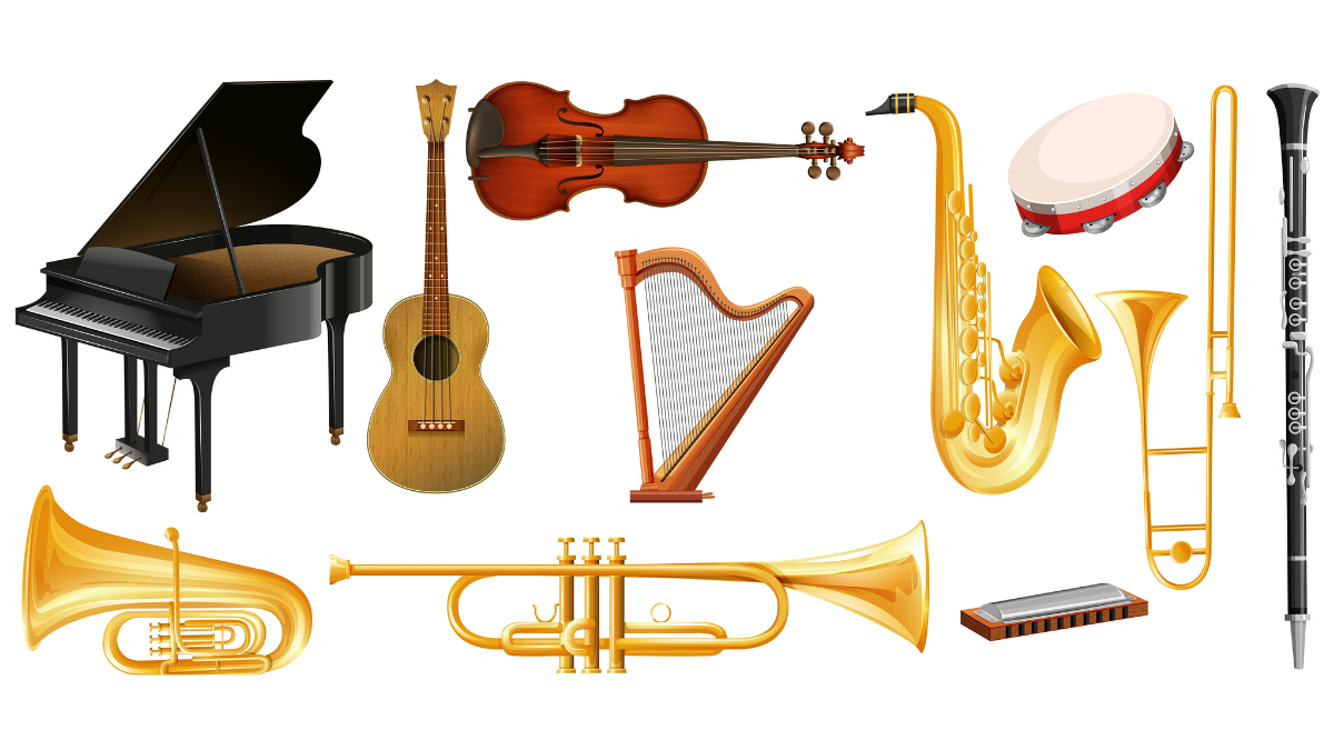A list of musical instruments in one frame.
