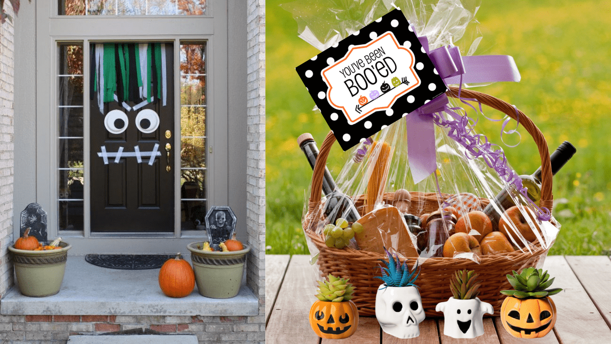 A porch with Halloween decorations and a brown door with Frankenstein's decoration. a Halloween gift basket on the right with a you've been booed card and 4 succulents with the Halloween themed planters in front of the basket