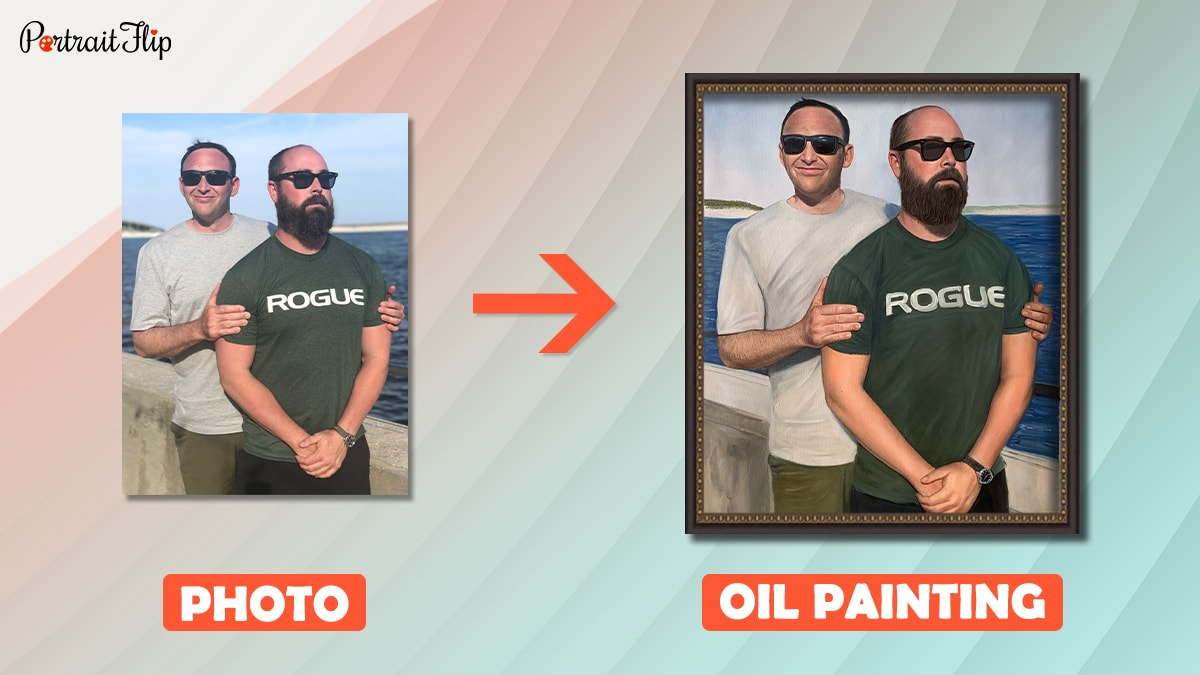 a photo of two friends is turned into a handmade oil painting by artists of portraitflip.