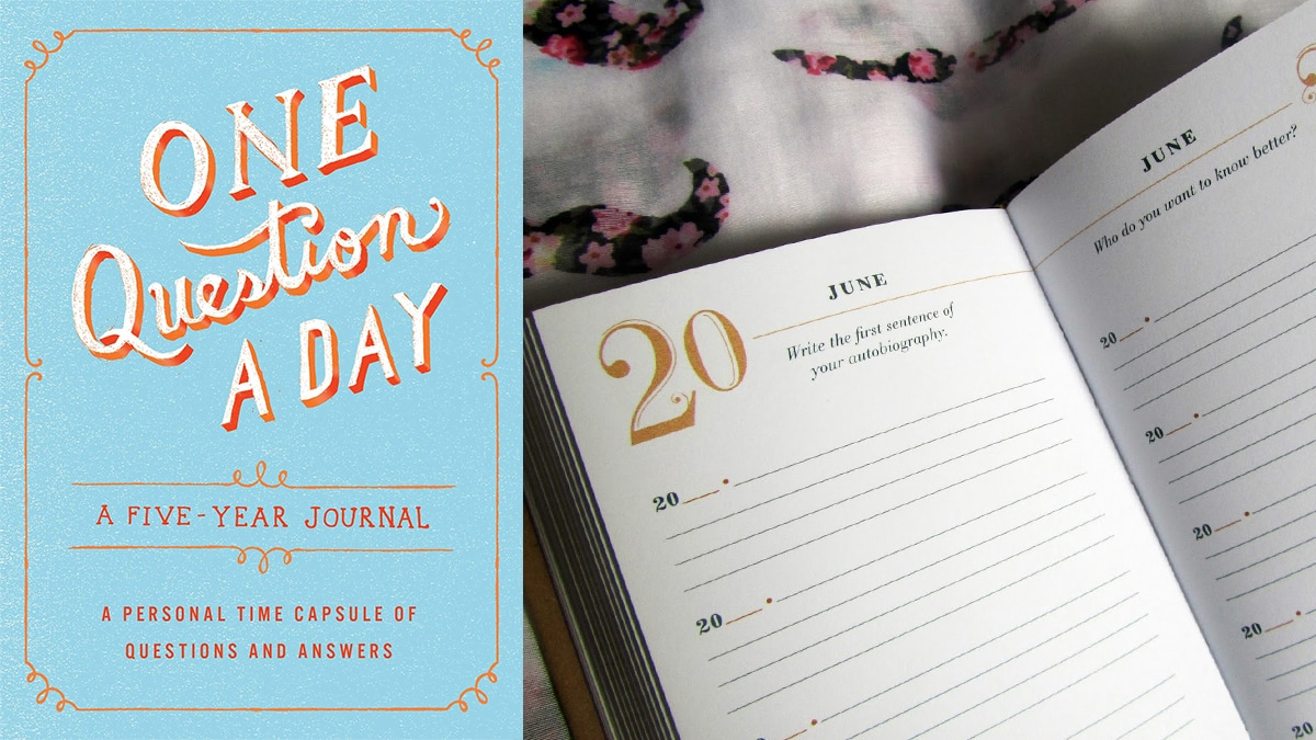 """Cover photo of """"One question a day: 5 years journal."""" On right side: a page from the journal."""