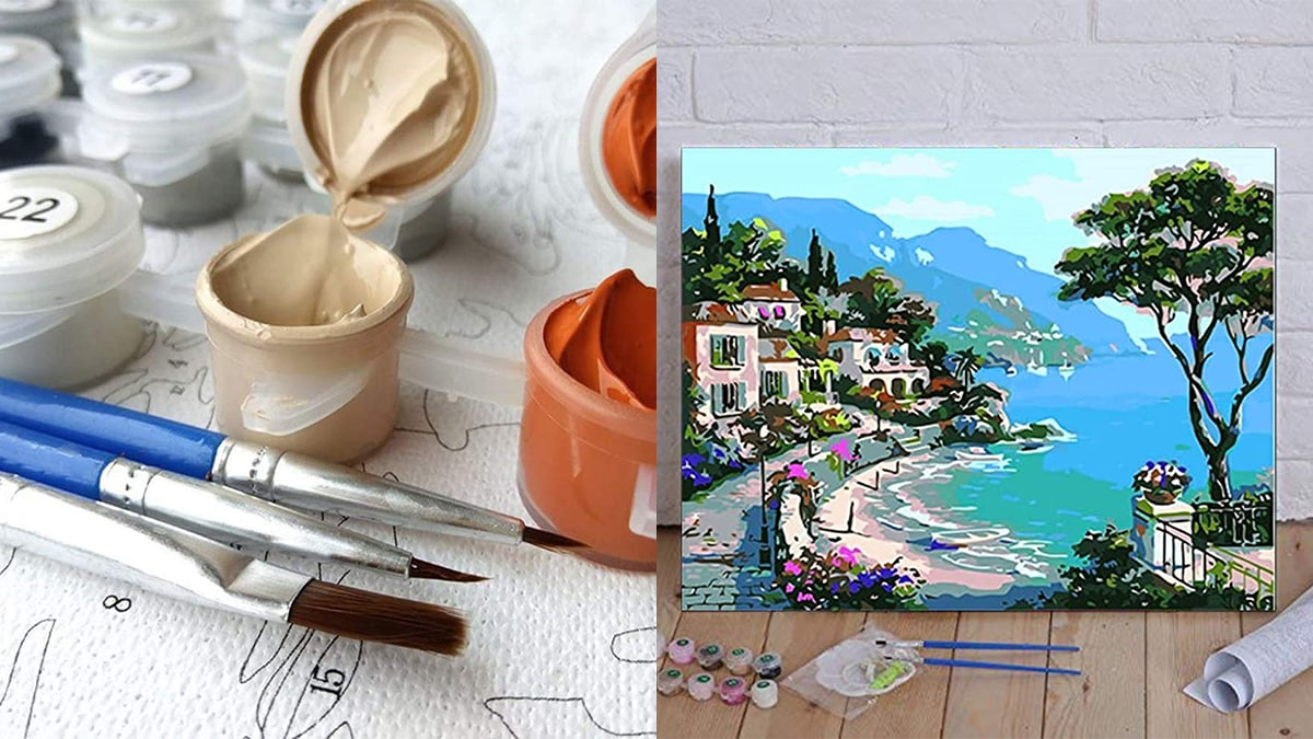 paint by numbers. On the left side: paint brush, paint and coloring page with numbers. On the right side: a completed paint-by-number painting