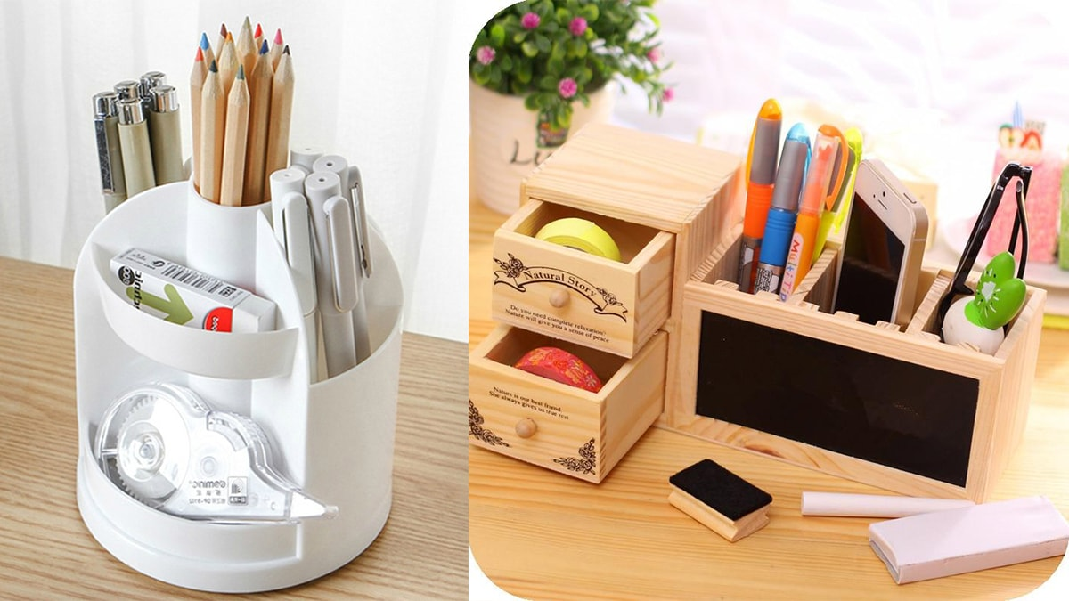 On left side: a white Pencil organizer with pencils, pens and stationery items. On the right side: a brown wooden pencil organizer with pens, pencil, mobile phone, and stationery items.