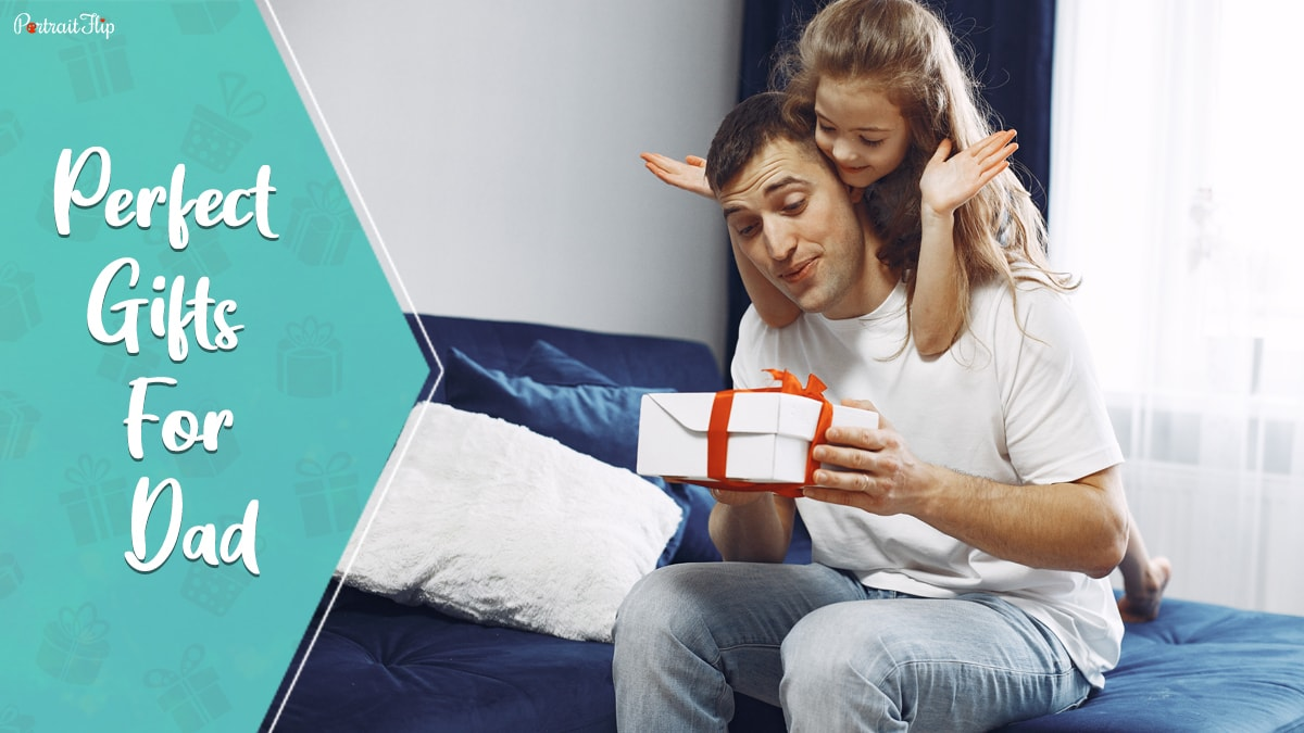 Perfect gifts for dad: a small girl surprising her father with a perfect gift.