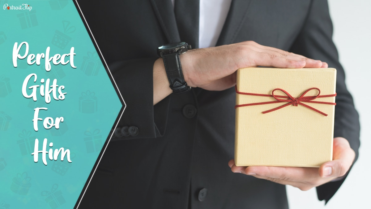 perfect gifts for him; a guy holding a yellow gift box in his hand,