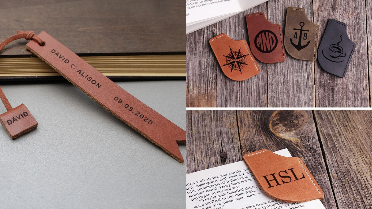 A personalized leather bookmark shown in two sizes, a long vertical bookmark and a small rectangular one.