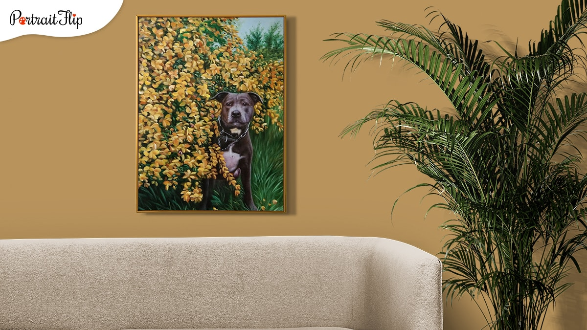 A painting made by PortraitFlip of a sweet looking black pitbull who is standing amongst yellow flower.