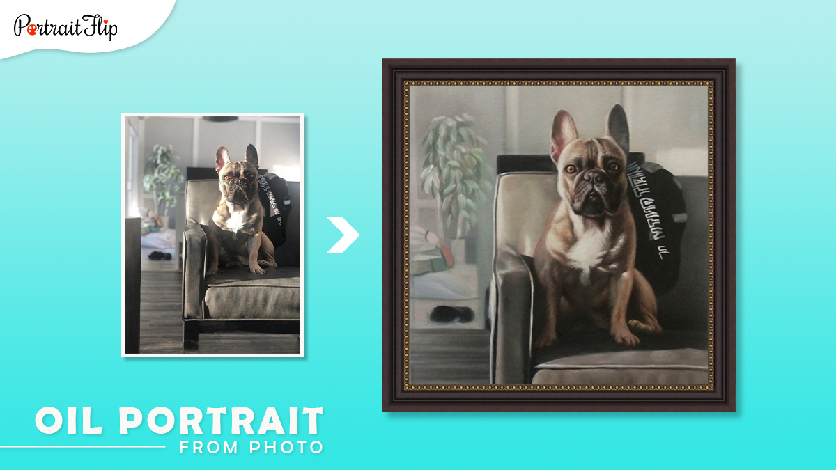Christmas gifts ideas for him: a photo of a French bulldog sitting on a couch is converted into an oil portrait by artists of portraitflip