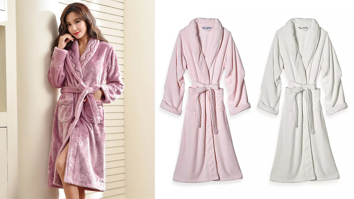 On The left: a woman wearing a pink plush robe. On right side: A soft pink and a white plush robe against white background.