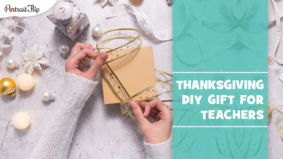 DIY thanksgiving gifts for teachers. a person making a diy thanksgiving gift.