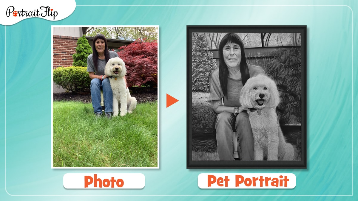 a photo of a woman and her pet is turned into a charcoal pet portrait by artists of portraitflip.