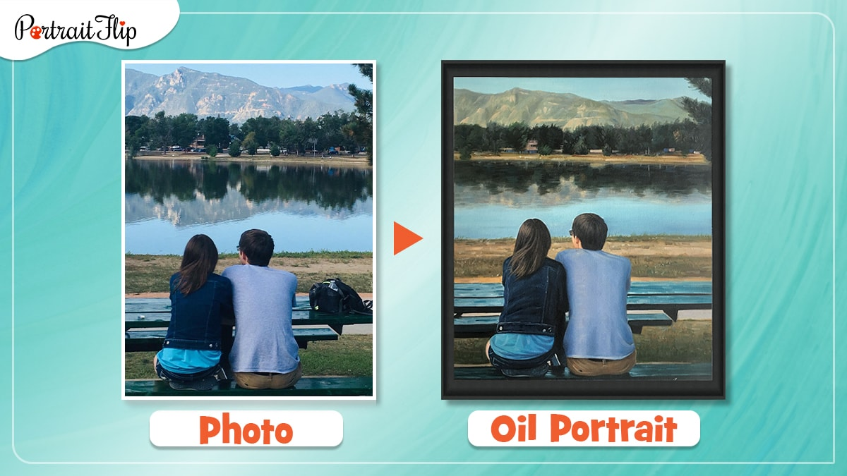 a photo of a guy and a girl gazing at mountain is made into a handmade oil painting by portraitflip artists