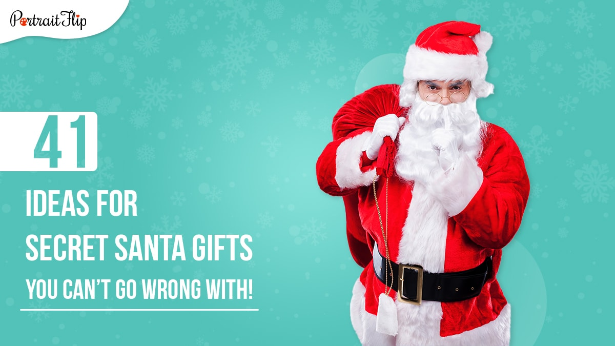 A santa clause hold his sack of gifts and asking people to keep a secret with his index finger on his lips. The image also suggests the following content is about secret santa gifts.