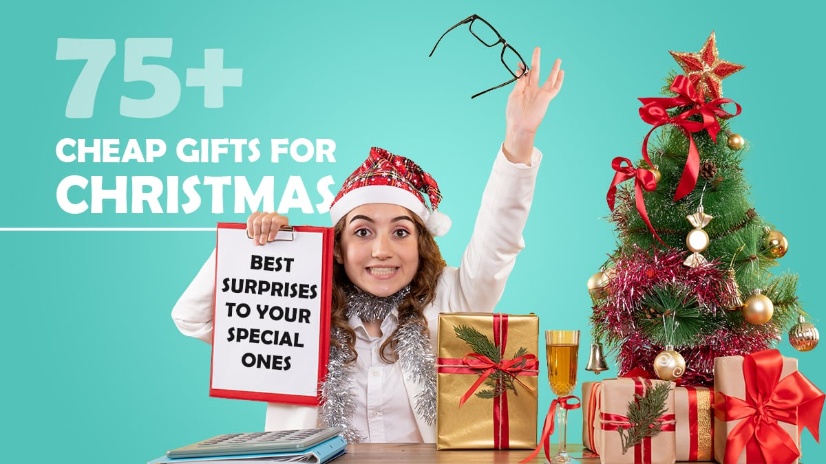 A girl is smiling and opening the gifts which she received on Christmas day.