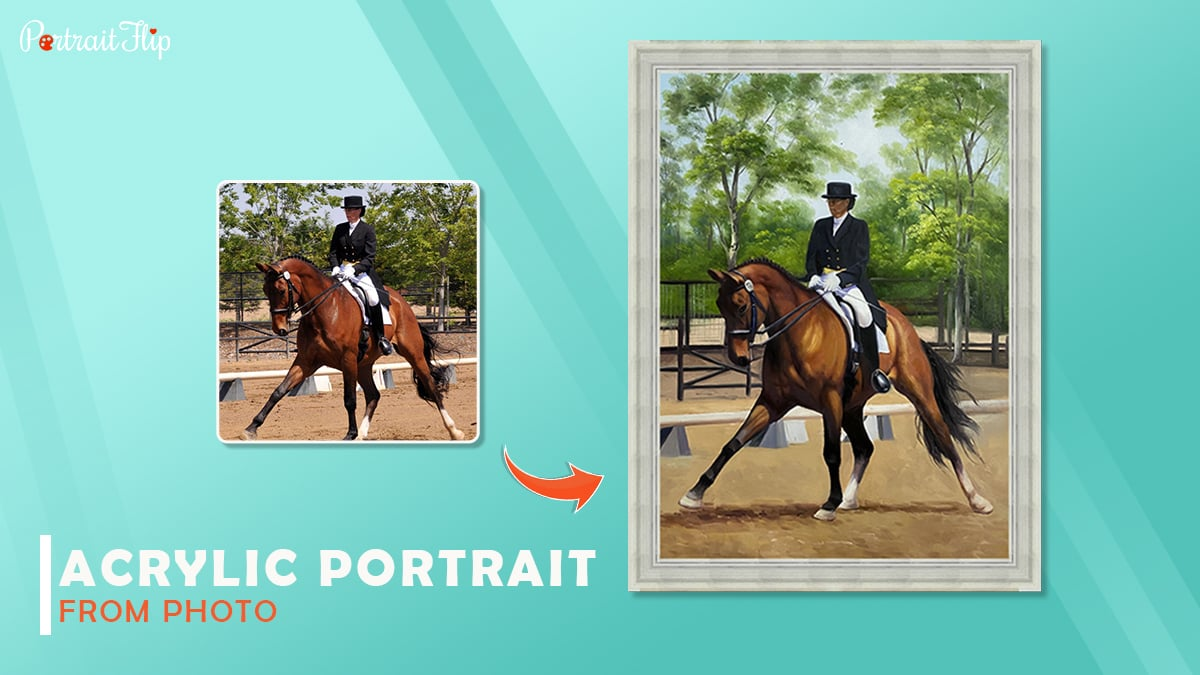 An acrylic portrait made by Portraitflip shows a man with black hat and black suit ridding a horse.