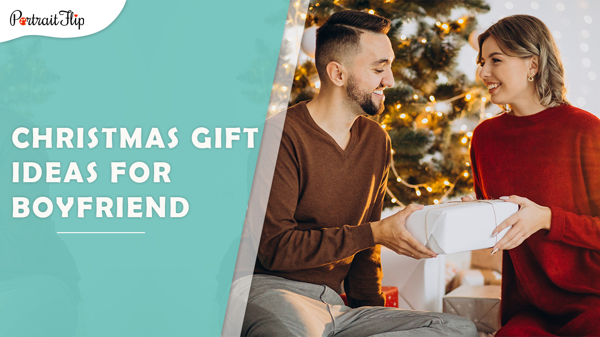Christmas gift ideas for boyfriend: a woman giving a white christmas present to her boyfriend.