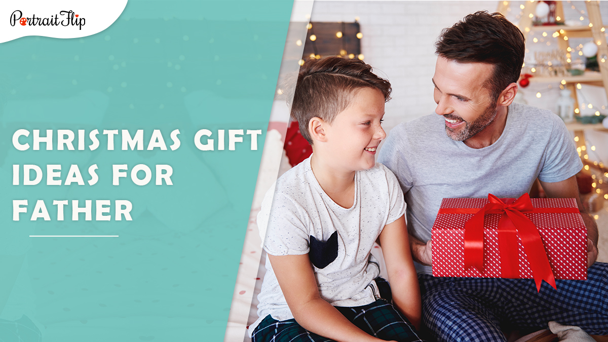 Christmas gift ideas for father: a man happily hold the christmas gift given by his son.