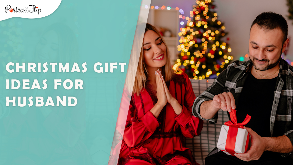 Christmas gift ideas for husband: a woman patiently waits as her husband unwraps the gift given by her.