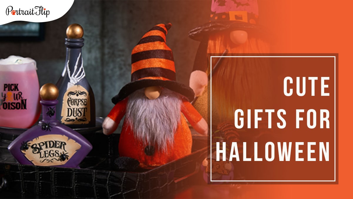 two gnomes dressed up as wizards kept on a stair shelf with vials of potions kept next to them. Cute gifts for Halloween written in a block on the right hand side.