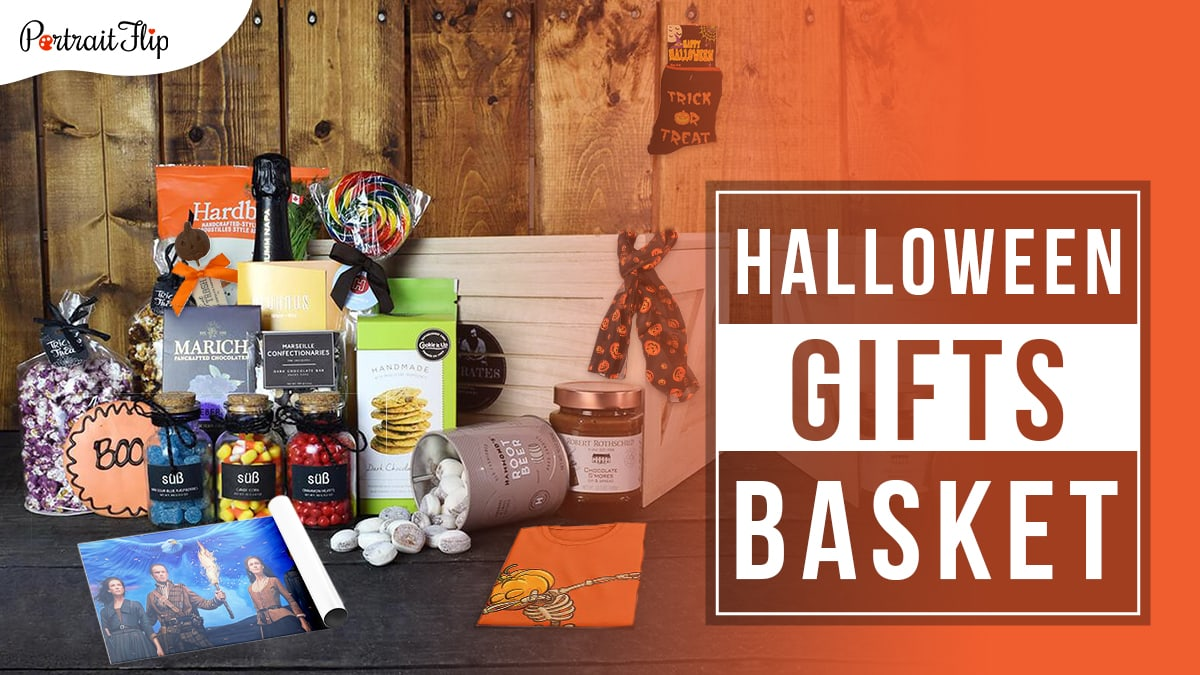 An assortment of Halloween themed products like popcorns, candies, cookies, jams, cheese, t-shirt, scarf, socks, and a handmade painting for Halloween gift idea.