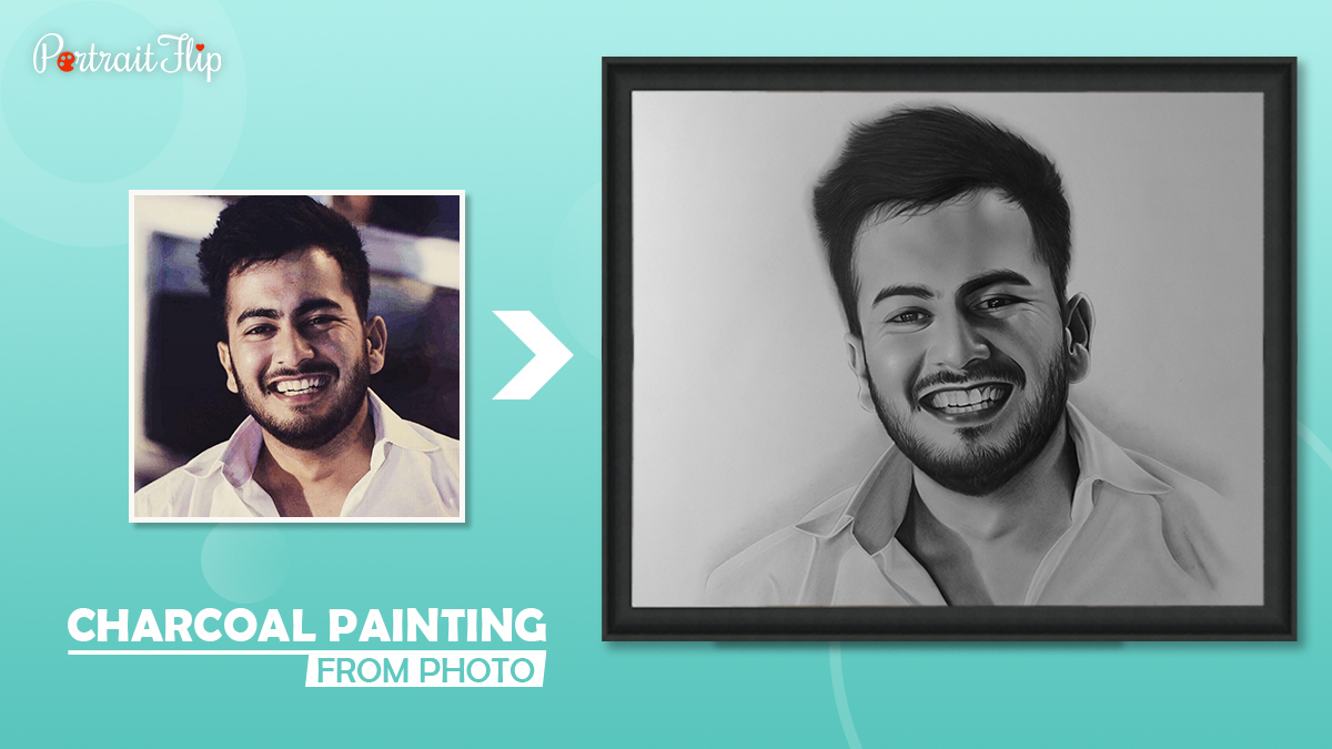 A color photo of a boy is transformed into a splendid charcoal painting by Portraitflip.